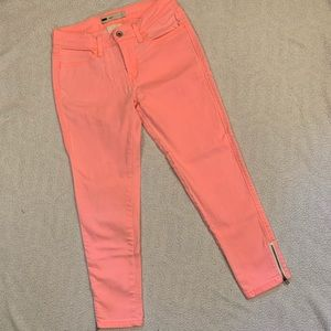 Levi's Hot Coral Washed Out Legging Fit Jeans